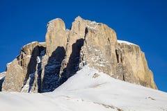 Gruppo di Sella nelle montagne della dolomia nell'inverno Fotografia Stock Libera da Diritti
