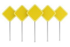 Gruppo di signes in bianco gialli della strada di rettangolo Fotografia Stock