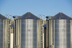 Gruppo di silos di grano nell'Uruguay con cielo blu Immagini Stock
