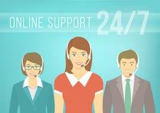 Gruppo di sostegno di call-center con le cuffie Immagine Stock