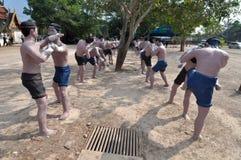 Gruppo di statua tailandese del pugile, Tailandia. Immagine Stock