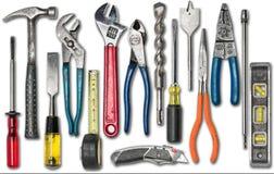 Gruppo di strumenti della costruzione su bianco Fotografie Stock