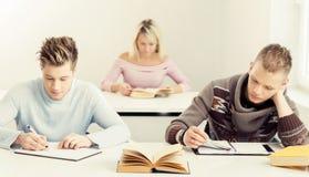 Gruppo di studenti adolescenti che studiano alla lezione Immagini Stock