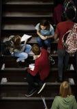 Gruppo di studenti che si siedono sulla scala facendo uso del computer portatile Fotografia Stock Libera da Diritti