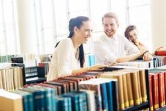Gruppo di studenti che studiano nella biblioteca Fotografie Stock Libere da Diritti