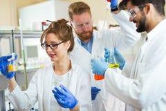 Gruppo di studenti di chimica che lavorano nel laboratorio Immagine Stock