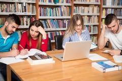 Gruppo di studenti con il computer portatile in biblioteca Immagini Stock
