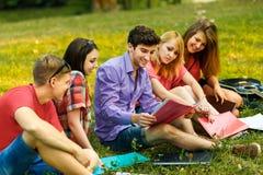 Gruppo di studenti con il computer portatile che si rilassa nel parco su un soleggiato Fotografie Stock Libere da Diritti