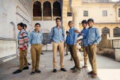 Gruppo di studenti indiani a Jaipur Immagine Stock