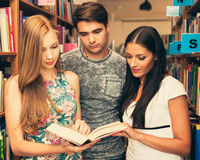 Gruppo di studenti in libri di lettura delle biblioteche - gruppo di studio Fotografie Stock Libere da Diritti