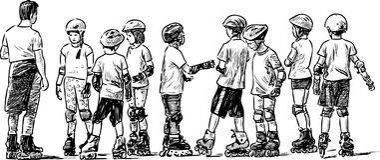 Gruppo di studenti minori sui pattini di rullo Fotografia Stock