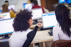 Gruppo di studenti nell'aula del laboratorio del computer Immagine Stock Libera da Diritti