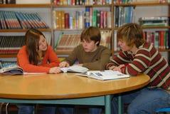 Gruppo di studio teenager delle biblioteche Fotografie Stock Libere da Diritti