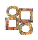 Gruppo di telai dipinti variopinti del cartone di lerciume in bianco isolati su bianco Fotografia Stock Libera da Diritti