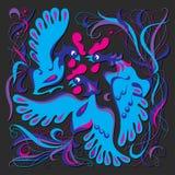 Gruppo di uccelli del blu di vettore Fotografie Stock Libere da Diritti