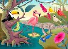 Gruppo di uccelli tropicali divertenti nella giungla illustrazione di stock