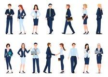 Gruppo di uomo di affari e di donna di affari isolati su bianco illustrazione vettoriale