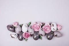 Gruppo di uova di Pasqua e di fiori Fotografia Stock Libera da Diritti