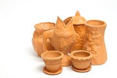 Gruppo di vasi dell'argilla per fare il giardinaggio Fotografie Stock
