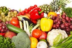 Gruppo di verdura e di frutta. Immagine Stock