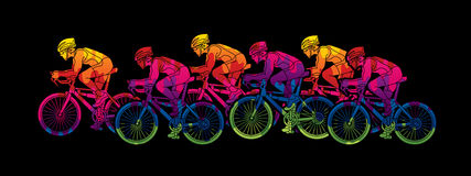 Gruppo di vettore grafico di corsa della bicicletta Fotografia Stock