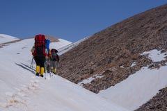 Gruppo di viaggiatori con zaino e sacco a pelo con i pali di trekking che passano il pendio innevato Immagini Stock Libere da Diritti