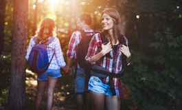 Gruppo di viandanti backpacking che vanno per il trekking della foresta Fotografie Stock
