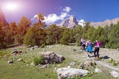 Gruppo di viandanti che camminano nella regione selvaggia Fotografia Stock Libera da Diritti