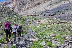 Gruppo di viandanti che camminano sulle parti posteriori della traccia Fotografia Stock Libera da Diritti