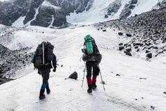 Gruppo di viandanti in montagne di Tien Shan Fotografie Stock