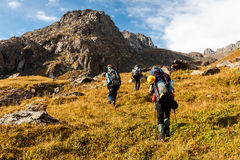 Gruppo di viandanti in montagne di Tien Shan Immagine Stock Libera da Diritti