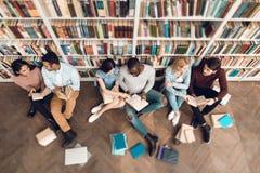 Gruppo di vista superiore di studenti multiculturali etnici in biblioteca Fotografie Stock
