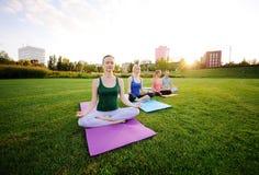 Gruppo di yoga sui precedenti di erba verde Fotografie Stock