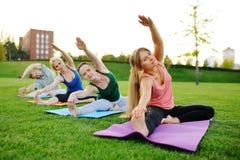 Gruppo di yoga sui precedenti di erba verde Fotografia Stock Libera da Diritti