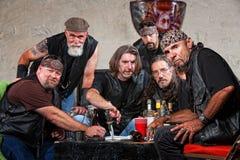 Gruppo duro del motociclista con le armi Fotografia Stock