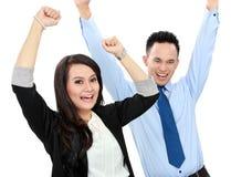 Gruppo emozionante di gente di affari Fotografia Stock Libera da Diritti