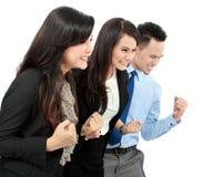 Gruppo emozionante di gente di affari Fotografia Stock
