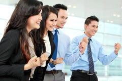 Gruppo emozionante di gente di affari Fotografie Stock