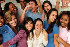 Gruppo emozionante e felice di gente varia Immagine Stock Libera da Diritti