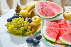 Gruppo enorme di verdura fresca e di frutta Fotografia Stock Libera da Diritti