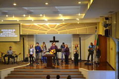Gruppo evangelico di culto della chiesa Immagine Stock Libera da Diritti