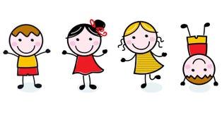 Gruppo felice dei bambini di Doodle isolato su bianco Fotografia Stock