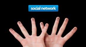 Gruppo felice di smiley del dito, rete sociale Fotografia Stock