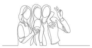 Gruppo felice e spensierato di amici che posano insieme - un disegno a tratteggio royalty illustrazione gratis