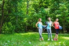 Gruppo femminile di forma fisica in parco un giorno soleggiato Allenamento all'aperto Fotografia Stock Libera da Diritti