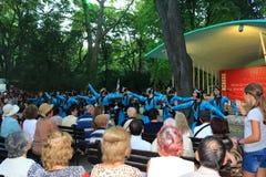 Gruppo georgiano di danza popolare alla scena all'aperto Varna Bulgaria Fotografie Stock