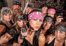 Gruppo minaccioso del motociclista Fotografie Stock Libere da Diritti