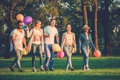 gruppo Multi-etnico di amici che hanno partito in un parco Immagine Stock