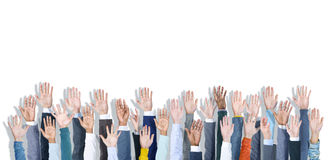 Gruppo multietnico di mani di affari sollevate Fotografie Stock