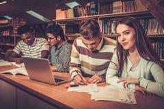 Gruppo multinazionale di studenti allegri che studiano nella biblioteca universitaria Fotografia Stock Libera da Diritti